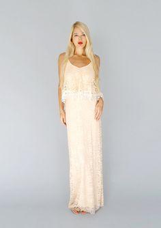 INEZ: Blush lace bohemian hippie wedding gown sheath vintage on Etsy, $1,028.00