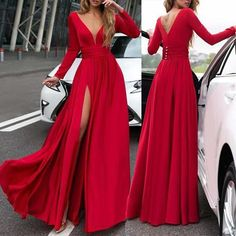 Description Product Name V neck Long SleeveThe Sides SplitMaxi Dress SKU Material Polyester Dress Length Long Sleeve Length Long Sleeve Pattern Plain Collar V Neck Style Fashion party meeting SIZE CHART(cm) Please Note: This style is lis Gala Dresses, Sexy Dresses, Dress Outfits, Red Maxi Dresses, Long Elegant Dresses, Cheap Red Prom Dresses, Cheap Formal Dresses Long, Red Fancy Dress, Simple Red Dress