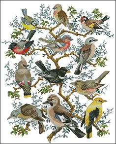 Birds in tree 4 Cross Stitch Needles, Cross Stitch Bird, Cross Stitch Animals, Cross Stitch Flowers, Counted Cross Stitch Patterns, Cross Stitch Charts, Cross Stitch Designs, Cross Stitching, Cross Stitch Embroidery
