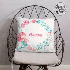 Mermaid Name Pillow, Personalized Name Pillow, Custom Name Cushion, Baby Girl Gift, Mermaid Throw Pillow, Gift for Girl, Mermaid Nursery