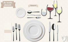 """Come apparecchiare tavola: la mise en place formale. Se il menu include piatti di pesce sostituire nello schema forchetta e coltello in relazione all'ordine della portata. I suggerimenti per una tavola davvero """"classy"""" su http://www.vinicartasegna.it/come-apparecchiare-tavola-mise-en-place/"""