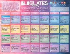 Pilates for Beginners Calendar! Need to start working out. This site also lists all the videos