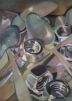 Soup to Nuts, Laurie Goldstein-Warren. Idiom still life, or opposites still life. Ap Drawing, Still Life Drawing, Still Life Art, Painting & Drawing, Reflection Art, Ap Studio Art, A Level Art, Ap Art, Teaching Art
