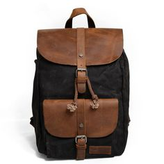 Waxed Canvas Leather Backpack Rucksack School Backpack Travel Backpack CF11