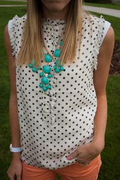 polka dots and a bubble necklace