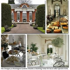 Kensington Palace in The Orangery tea room, June, 2008, Once Queen Victoria's conservatory, had lovely tea, crumpet, scones, sandwiches. Roamed the gardens for a bit afterwards.