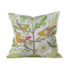 """Bird and floral-print throw pillow by artist Cori Dantini for DENY Designs. Made in the USA.   Product: PillowConstruction Material: Woven polyesterColor: MultiFeatures:  Designed by Cori Dantini for DENY DesignsConcealed zipper closureInsert includedPrinted on front and back Dimensions: 18"""" x 18"""" Cleaning and Care: Spot clean with mild detergent"""