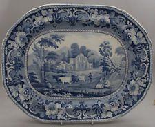 Antique Pottery Pearlware Blue Transfer Meir Pineapple Border Platter 1825 Welsh