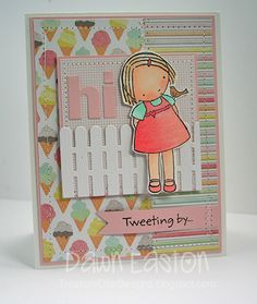 I love this white picket fence on this card.  And I love the colors.