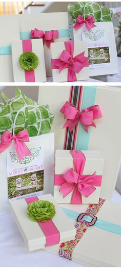 pink and green gift wrap! oh so cute!!
