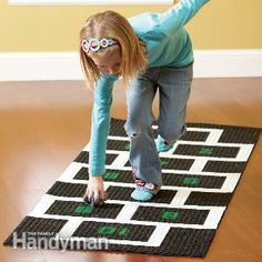 Indoor Games: Hopscotch - Make a super-simple hopscotch mat for your children from a cheap carpet runner and a few other inexpensive materials. The only tools you'll need are a tape measure and a rolling pin. Family Games, Games For Kids, Diy For Kids, Cool Kids, Crafts For Kids, Children Games, Kids Fun, Where To Buy Carpet, Cheap Carpet Runners