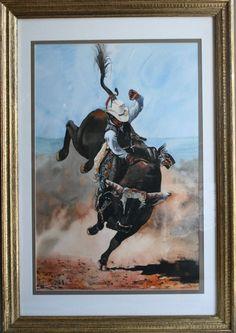 Cowboy riding bull painting