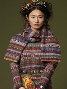 pattern 'Lidiya' Scarf and dress from Rowan Knitting and Crochet magazine 48 . I am ordering mine! Rowan Knitting, Rowan Yarn, Fair Isle Knitting, Hand Knitting, Knitting Magazine, Crochet Magazine, Knitting Designs, Knitting Patterns, Fair Isle Pattern