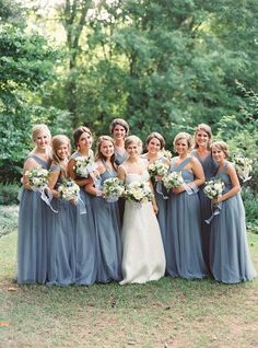 Dusty Blue Fall Wedding Color Ideas: White or lace dusty blue bride gown, dusty blue bridesmaid dresses, groom and groomsmen in grey suits with dusty blue corsages, white table linens with dusty blue napkins… Grey Bridesmaids, Blue Bridesmaid Dresses, Wedding Dresses, Monique Lhuillier, Serenity, Dusty Blue Weddings, Fall Wedding Colors, Julie, Wedding Bells