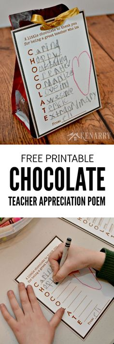 What a cute and easy idea for a teacher appreciation gift! Have your child write words to describe his or her teacher on this free printable tag then attach it to chocolate for Teacher Appreciation Week, Christmas or the end of the school year. by lorene Teacher Thank You, Your Teacher, School Teacher, School Staff, Sunday School, Student Teacher, Teacher Treats, Teacher Gifts, Teacher Sayings