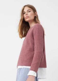 Pull-over en coton et laine