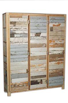 3 doors cabinet in scrapwood by Piet Hein Eik