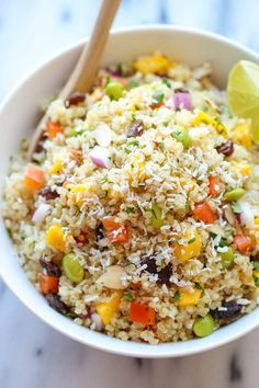 Whole Food's California Quinoa Salad - A copycat recipe:     1 cup quinoa     1/4 cup balsamic vinegar     Zest of 2 limes     1 mango, peeled and diced     1 red bell pepper, diced     campaignIcon     1/2 cup shelled edamame     1/3 cup chopped red onion     1/4 cup unsweetened coconut flakes     1/4 cup sliced almonds     1/4 cup raisins     2 tablespoons chopped fresh cilantro leaves