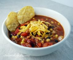 Taco Soup-- This is one of our very favorite soup recipes. And it's quick and easy! #soup #recipe
