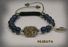 Mens  Steampunk bracelet of  Dark blue Egyptian Lazuli by Olisava