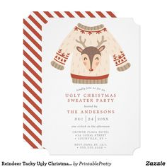 Reindeer Tacky Ugly Christmas Sweater Party Invitation Tacky Christmas Party, Office Christmas Party, Ugly Christmas Sweater, Holiday Parties, Holiday Fun, Ugly Sweater Funny, Christmas Party Invitations, Custom Invitations, Reindeer