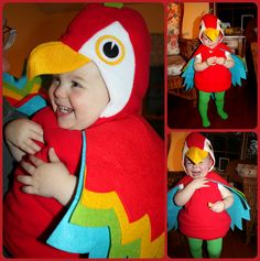 Parrot Costume Collage More Toddler Halloween Costumes, Halloween 2015, Baby Costumes, Halloween Ideas, Baby Parrot Costume, Bird Costume, Munchkin Costume, Tropical, Fancy Dress