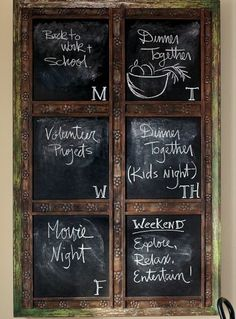 Chalkboard paint on an old window pane to make coordinating schedule with guy! :)