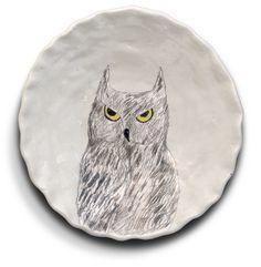 owl plate by Gemma Orkin Pottery Plates, Ceramic Pottery, Pottery Art, Ceramic Birds, Glass Ceramic, Plate Design, Bird Design, Pottery Patterns, Kids Clay