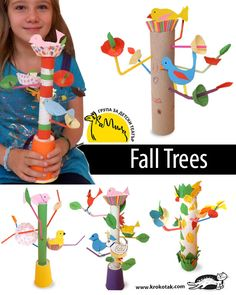 Fall trees using towel rolls