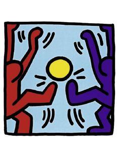 """""""Football"""", grafite de 1983 de Keith Haring em Nova York.   Veja mais em: http://semioticas1.blogspot.com.br/2011/07/arte-do-grafite_15.html"""