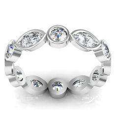 Round and marquise diamond wedding band band round brilliant pave diamonds.