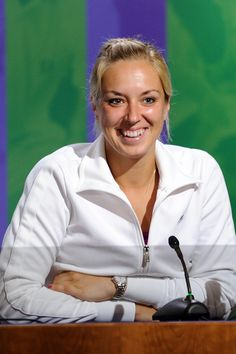 Sabine Lisicki smiles during a press conference after defeating Maria Sharapova in the fourth round. Sabine Lisicki, Lawn Tennis, Tennis Stars, Maria Sharapova, Wimbledon, Tennis Players, Sport Girl, Conference, Reading
