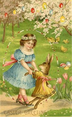 Vintage Easter Postcard of a Girl Dancing With a Rabbit