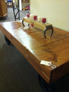 unique rustic furniture. Table And Horse Shoe Candle Holder By Chuck\u0027s Custom Creations. Https://www Unique Rustic Furniture