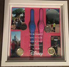 Magic band decor display #Disney #cricut #vacation #shadowbox #epcot #magickingdom #animalkingdom #hollywoodstudios #disneycoins Jazzmyne Schultz Cute Disney, Disney Diy, Disney Crafts, Disney Style, Walt Disney, Disney World Planning, Disney World Vacation, Disney Vacations, Disney Trips