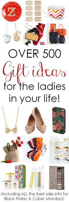 Over 500 Gift Ideas for the Ladies in Your Life! Including ALL the best sale info for Black Friday weekend & Cyber Monday! http://www.theperfectpalette.com/2013/11/over-500-gift-ideas-for-ladies-in-your.html