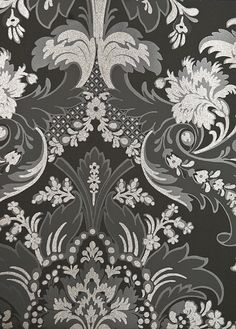 Aldwych Damask Wallpaper Very stylish Charcoal Damask Wallpaper with Dark Grey and Charcoal motif embellished with pewter glittered relief.