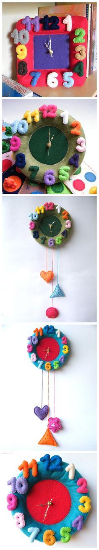 不织布挂钟,很有童趣。可以自己尝试。【阿团丸子】