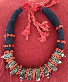 Old Moroccan Berber Rings Necklace with Red Glass by TuaregJewelry