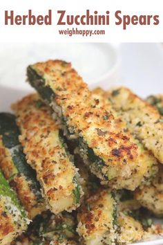 Herbed Zucchini Spears are crunchy on the outside and soft on the inside for a very satisfying chewing experience. It's almost like melting in your mouth. They can be served plain or with a ranch or cucumber dip. Cucumber Bites, Healthy Snacks, Healthy Recipes, Good Food, Yummy Food, Tasty, Vegetable Recipes, Food Inspiration, Smoothies