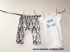 Triangles Leggings and Hello World Bodysuit Set, Stacked Triangles Leggings, Baby Leggings, Newborn Going Home Outfit, Organic Baby Clothes - http://www.babies-clothes.info/triangles-leggings-and-hello-world-bodysuit-set-stacked-triangles-leggings-baby-leggings-newborn-going-home-outfit-organic-baby-clothes.html