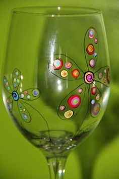 *painted wine glass flower