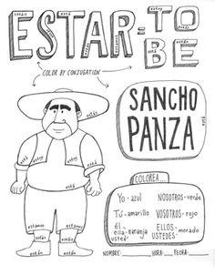 Don Quixote Sancho Panza Color by conjugation ~ESTAR Spanish Verb Ser, Spanish Grammar, Spanish 1, Spanish Teacher, Spanish Classroom, Spanish Language, Learn Spanish, Spanish Teaching Resources, Spanish Activities