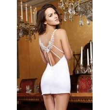 White Silky Bridal Chemise with Low Back Embroidered Lace Detail and Thong Honeymoon Lingerie, Bridal Lingerie, White Lingerie, Sexy Lingerie, Stripper Shoes, Online Lingerie, Dress Images, Well Dressed, Sexy Dresses