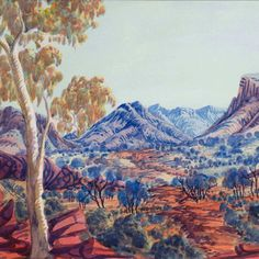 The legacy of Aboriginal artist Albert Namatjira continues to shine through the younger generations' work at an exhibition in Canberra. Aboriginal Painting, Aboriginal Artists, Indigenous Australian Art, Australian Artists, Landscape Art, Landscape Paintings, Australian Aboriginals, Aboriginal History, Australian Painting