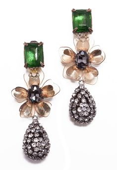 Tory Burch Emerald Stone Diamante Tear Drop Earring