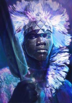 Sci-fi and Fantasy African American Art, African Art, Character Portraits, Character Art, Black Artwork, Fantasy Kunst, Afro Art, Black Women Art, Fantasy Artwork