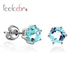hot natural blue topaz earrings stud genuine 925 sterling silver women on sale outstanding fine