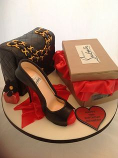 Louboutin Shoe, Shoe Box, Classic Chanel Bag and Marc Jacobs Daisy Perfume. Shoe box is vanilla sponge cake, bag is chocolate fudge cake, sh...