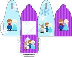 Caixa com Foto Frozen Cute Roxo e Azul
